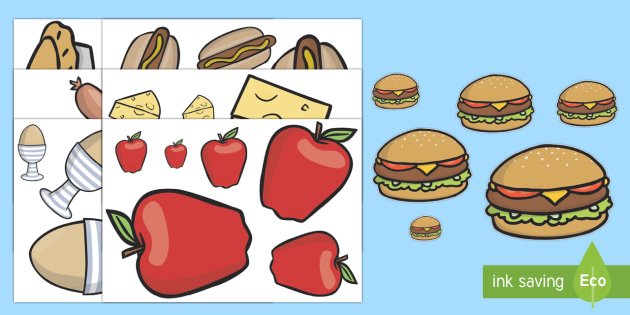 Ordenar tamaños: La comida - grande, pequeño, mediano, clasificar tamaños, comer saludable, sano, Spanish