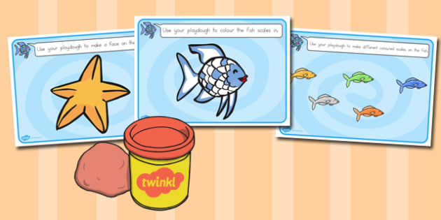 Playdough Mats to Support Teaching on The Rainbow Fish - australia, rainbow fish, playdough