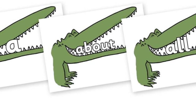 100 High Frequency Words on Enormous Crocodile to Support Teaching on The Enormous Crocodile - High frequency words, hfw, DfES Letters and Sounds, Letters and Sounds, display words