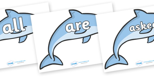 Tricky Words on Dolphins - Tricky words, DfES Letters and Sounds, Letters and sounds, display, words