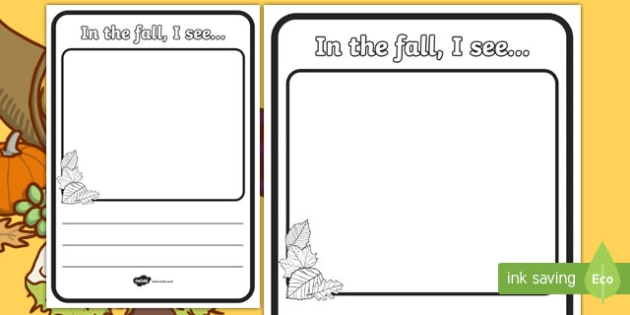 In the Fall I See Writing Activity Sheet