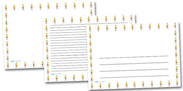 Life Guard Landscape Page Borders- Landscape Page Borders - Page border, border, writing template, writing aid, writing frame, a4 border, template, templates, landscape