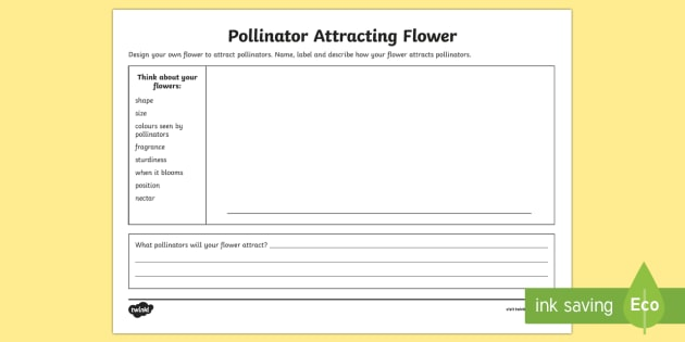 Design A Pollinator Attracting Flower Activity Sheet - flowers, flower design, pollination, pollinators, flowers and pollination, flowers and pollinators,