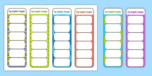 My English Targets Bookmarks - my targets, english target, english, target, bookmarks