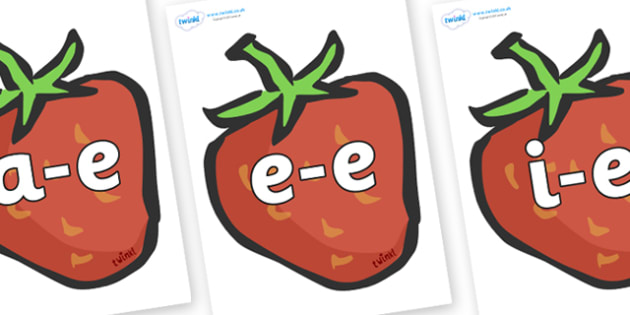 Modifying E Letters on Strawberries - Modifying E, letters, modify, Phase 5, Phase five, alternative spellings for phonemes, DfES letters and Sounds