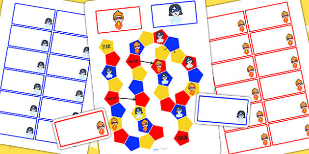 Superhero Themed Editable Board Game - superheroes, board games
