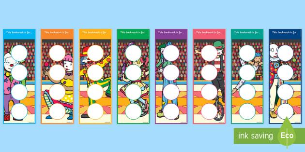 Circus Themed Sticker Reward Bookmarks - circus themed, sticker reward bookmarks, circus themed sticker bookmarks, circus themed rewards