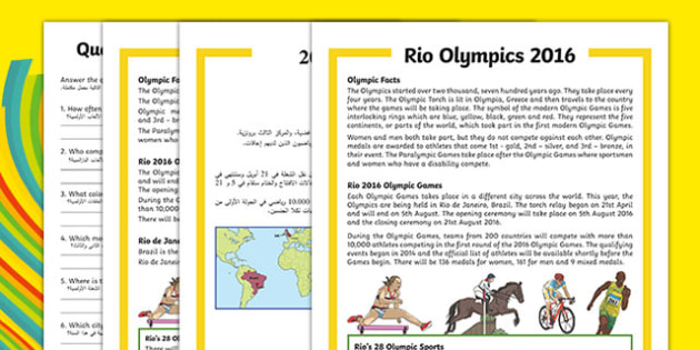KS1 Rio Olympics 2016 Differentiated Reading Comprehension Activity Arabic Translation - arabic, Olympic Games 2016, KS1, olympics, Rio, Brazil, reading comprehension, questions