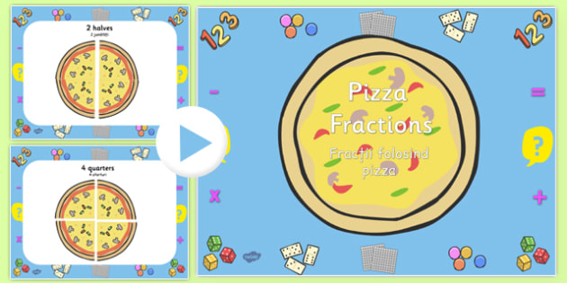 Pizza Fractions PowerPoint Romanian Translation - romanian, fractions, powerpoint, fractions powerpoint, maths, maths powerpoint, numeracy, numeracy powerpoint