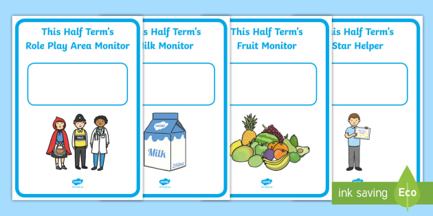 Classroom Monitor Display Signs (Half Termly) - Monitor, termly job signs, term, monitors, classroom monitors, pupil jobs, helpers, Teaching Labels