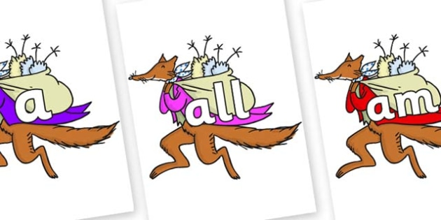 Foundation Stage 2 Keywords on Mr Fox to Support Teaching on Fantastic Mr Fox - FS2, CLL, keywords, Communication language and literacy,  Display, Key words, high frequency words, foundation stage literacy, DfES Letters and Sounds, Letters and Sounds