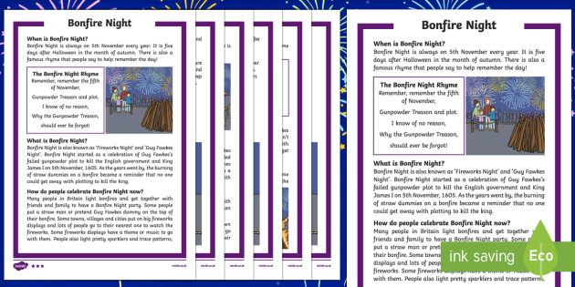 KS1 Bonfire Night Differentiated Fact File