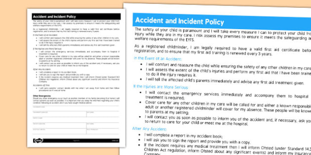 Childminder Accident and Incident Policy - child minder, rules