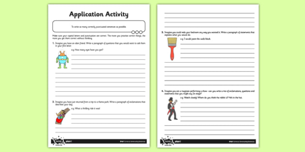 Correctly Demarcating Sentences Application Activity - Practise Makes Perfect - sentences, exclamation marks, question marks, command, bossy verbs, questions
