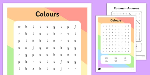 Colours Word Search - colours, word search, word, search, activity, colour