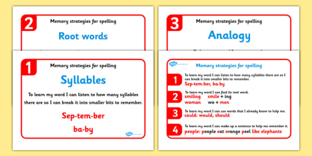 Memory Strategies for Spelling Display Posters (Phase 6) - Memory strategies, Phase 6, Phase six, Phonics, DfES Letters and Sounds, familiar word, analogy, sentence, syllable, base word, Letters and sounds