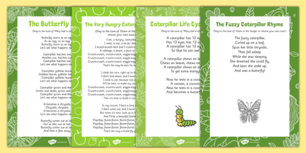 Songs and Rhymes Resource Pack to Support Teaching on The Very Hungry Caterpillar - EYFS, butterfly, egg, life cycle, cocoon, caterpillar