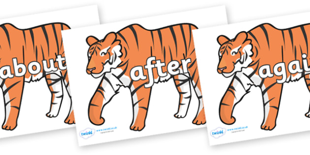 KS1 Keywords on Tigers - KS1, CLL, Communication language and literacy, Display, Key words, high frequency words, foundation stage literacy, DfES Letters and Sounds, Letters and Sounds, spelling