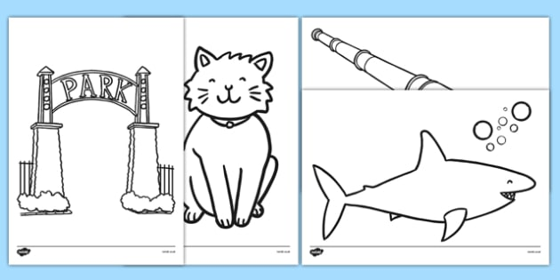 Is That a Shark? Colouring Sheets - shark in the park, Nick Sharratt, storybook