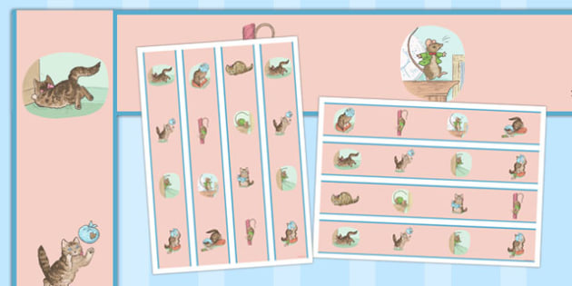 The Story of Miss Moppet Display Borders - beatrix potter, margins, edging, traditional tales, stories, retell, display, visual aid, ks1, key stage 1, early years