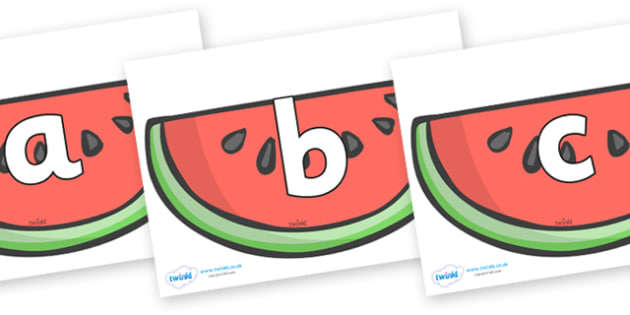 Phoneme Set on Watermelons to Support Teaching on The Very Hungry Caterpillar - Phoneme set, phonemes, phoneme, Letters and Sounds, DfES, display, Phase 1, Phase 2, Phase 3, Phase 5, Foundation, Literacy