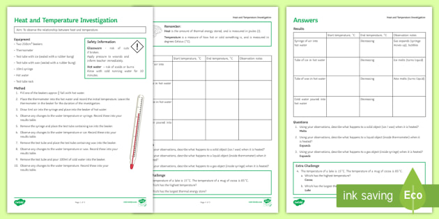 Heat and Temperature Investigation Instruction Sheet Print-Out - Investigation Help Sheet, science practical, method, instructions, heat, thermal, energy, temperatur
