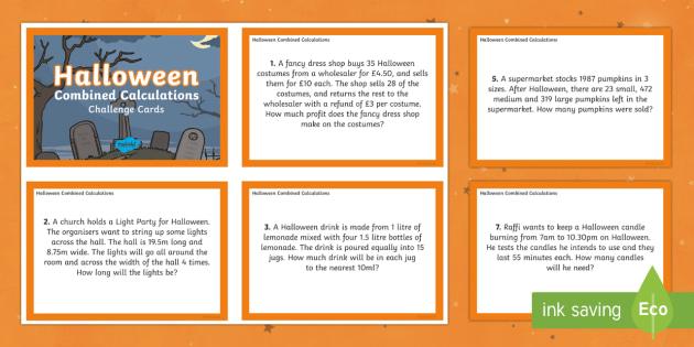 UKS2 Combined Calculations Halloween Maths Challenge Cards