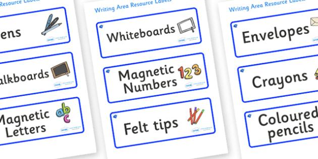 Sapphire Themed Editable Writing Area Resource Labels - Themed writing resource labels, literacy area labels, writing area resources, Label template, Resource Label, Name Labels, Editable Labels, Drawer Labels, KS1 Labels, Foundation Labels, Foundati