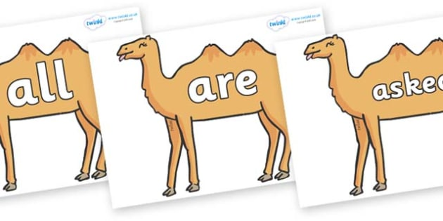 Tricky Words on Camels - Tricky words, DfES Letters and Sounds, Letters and sounds, display, words