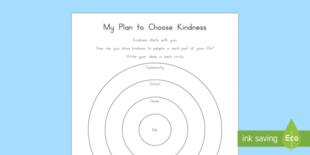 My Plan to Choose Kindness Activity Sheet - Choose kindness, kindness, friendship, relationships, pledge, worksheet