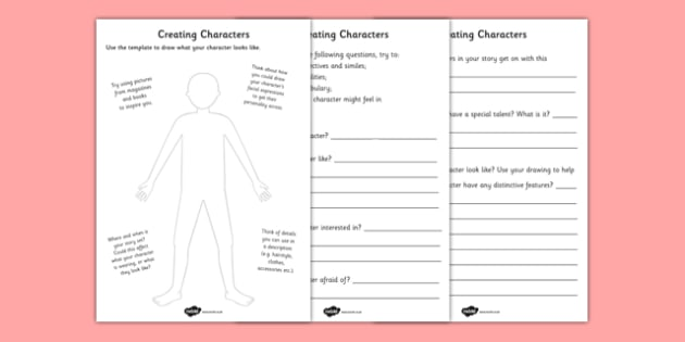 Creating a Character Worksheets - creating a character worksheet, creating a character, creating, characters, template, drwa, own character, creative, activity, describe, how old, interested in, personalities, vocabulary
