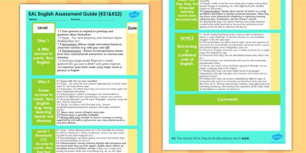 EAL KS1 and KS2 English Assessment Guide - targets, assessment