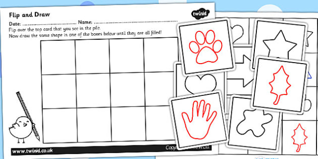 Flip and Draw Fine Motor Skills Sheets and Cards Activity