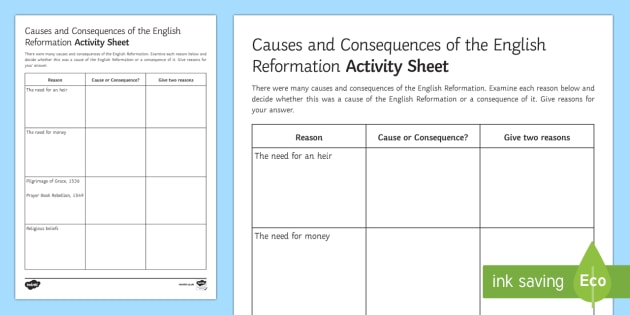 Causes and Consequences of the English Reformation Activity Sheet - English Reformation, Edward VI, Henry VIII, Money, Heir, Religious Beliefs, causes, consequences