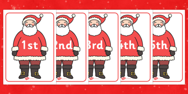 Ordinal Numbers on Santas - ordinal, number, santa, activity, numbers