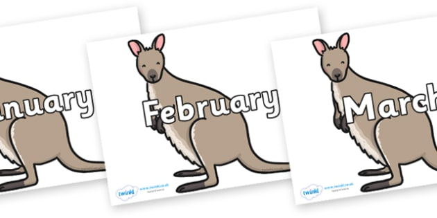 Months of the Year on Wallaby - Months of the Year, Months poster, Months display, display, poster, frieze, Months, month, January, February, March, April, May, June, July, August, September