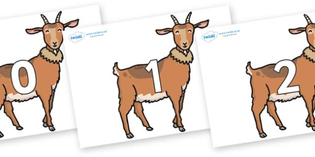 Numbers 0-50 on Medium Billy Goats - 0-50, foundation stage numeracy, Number recognition, Number flashcards, counting, number frieze, Display numbers, number posters