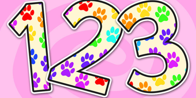 Paw Print Small Display Numbers-paw print, display number, display, numbers, numbers for display, themed display numbers, numeracy display