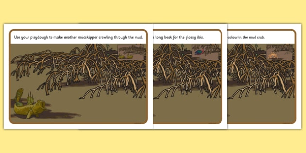Australian Mangrove Animals Playdough Mats - Science, Year 1, Habitats, Australian Curriculum, Mangrove, Living, Living Adventure, Environment, Living Things, Animals, Body parts, Playdough Mats