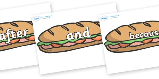 Connectives on Sandwiches - Connectives, VCOP, connective resources, connectives display words, connective displays