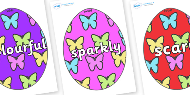 Wow Words on Easter Eggs (Butterflies) - Wow words, adjectives, VCOP, describing, Wow, display, poster, wow display, tasty, scary, ugly, beautiful, colourful sharp, bouncy