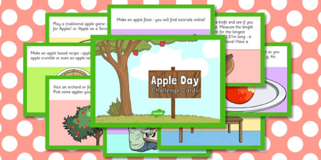 Apple Day Challenge Cards - apple, day, challenge cards, challenge
