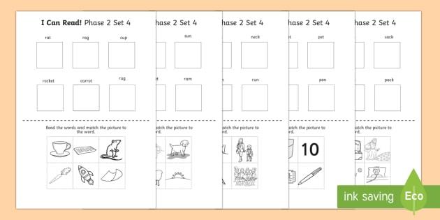 I Can Read Phase 2 Set 4 Words Activity Sheet - activity, phase 2, worksheet