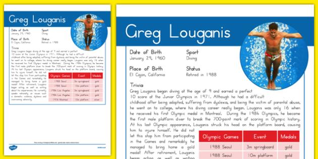 USA Olympians Greg Louganis Fact File