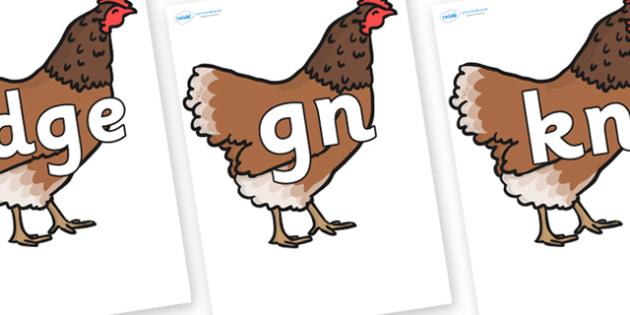 Silent Letters on Hen - Silent Letters, silent letter, letter blend, consonant, consonants, digraph, trigraph, A-Z letters, literacy, alphabet, letters, alternative sounds