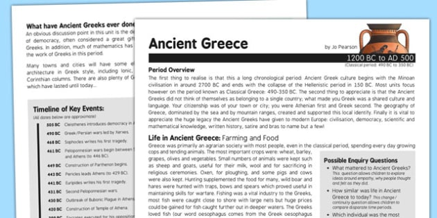 Ancient Greece History Fact Sheet for Adults - history, fact sheet, ancient greece