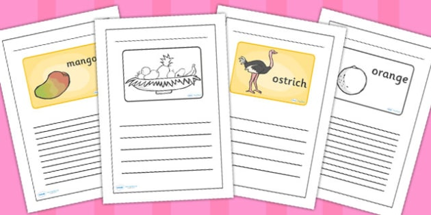 Lined Writing Frames to Support Teaching on Handa's Surprise - frame, write, picture