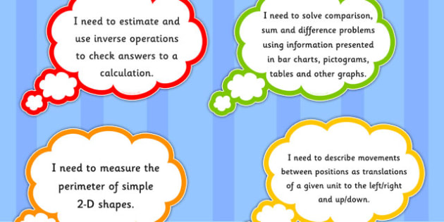 2014 Curriculum Year 4 Maths Assessment I Need To Thought Bubbles