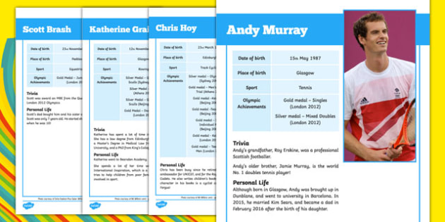 Scottish Olympians Fact File Pack - Olympics, Scottish, medallists, past, information sheets, facts