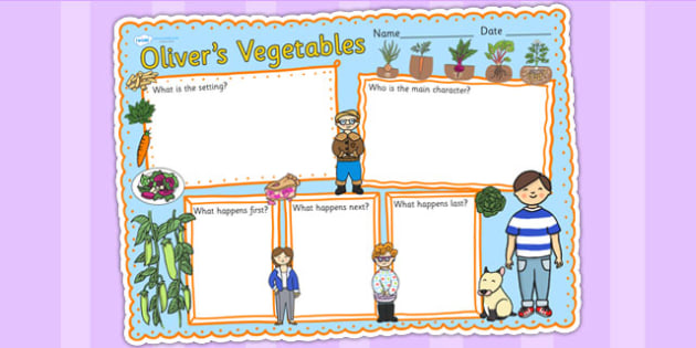 Oliver's Vegetables Book Review Writing Frame - book review, write